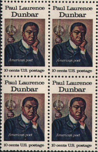 PAUL LAURENCE DUNBAR ~ POET ~ BLACK HERITAGE #1554 Block of 4 x 10 cents US Postage Stamps