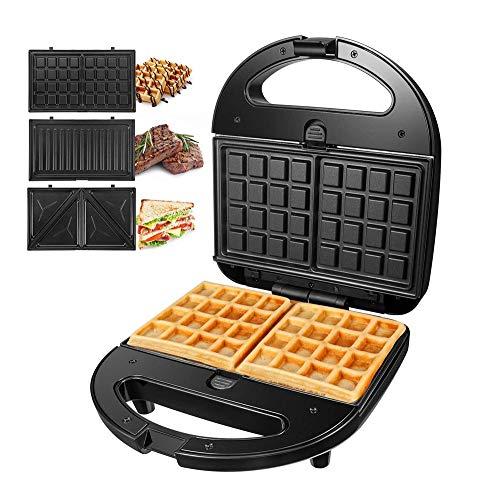 SZHWLKJ Sandwich Maker 3-in-1 Waffle Iron, 750W Panini Press Grill with 3 Detachable Non-stick...
