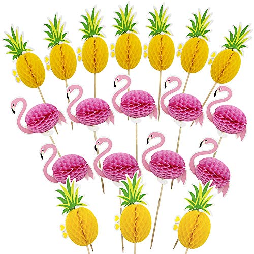 ZARRS Hawaii Cake Picks,50 Stück 3D Flamingo Ananas Kuchen Topper Cocktail Dekoration Getränk für Sommer Hawaii Geburtstag Hochzeitsfeier Dekoration