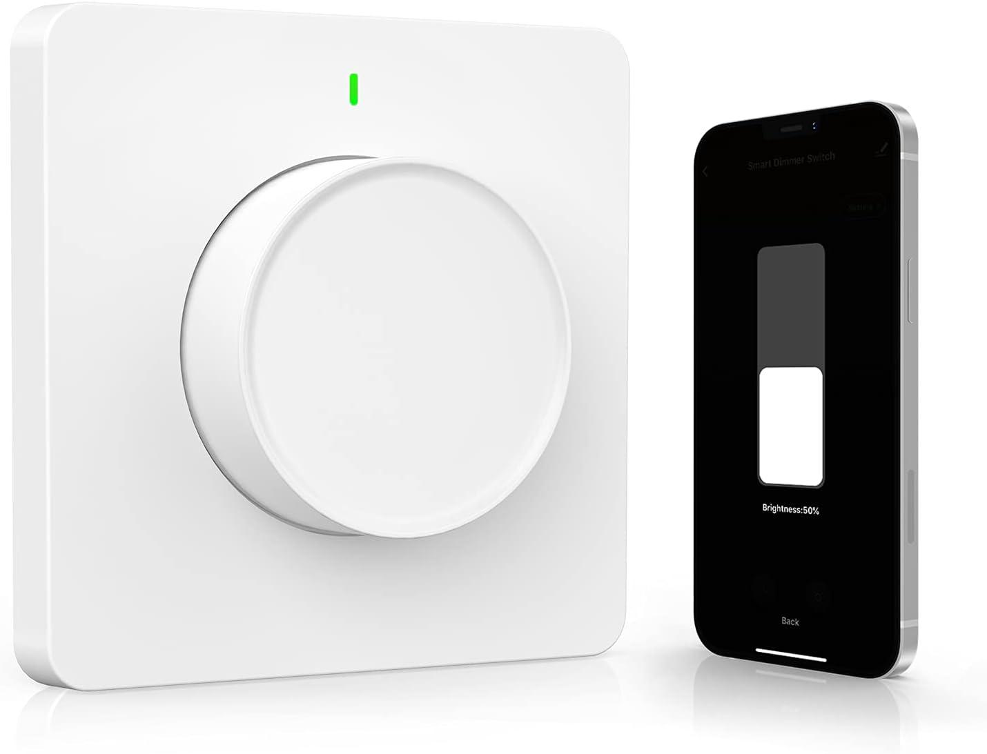 Dimmer WiFi, Maxcio Interruptor de regulador de luz controlado por App y Voz, Compatible con Alexa(Echo/Dot/Tap) y Google Home, Atenuador de luz con Temporizador, Brillo Ajustable