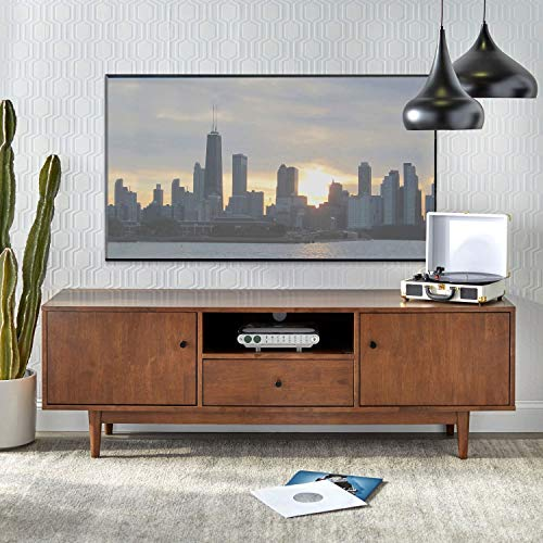 Mid Century Modern TV Stand Provides Retro Style and Contemporary Function. 72' Entertainment Center Features Two Cabinets and a Center Drawer. Solid Wood Media Cabinet Console Creates Timeless Feel.