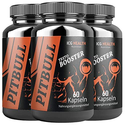 Pitbull Testo Booster – Pre Workout Booster Muskelaufbau (3 Dosen je 60 Kapseln) – Booster Pre Workout Testosteron Booster Fitness