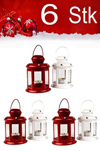 Weihnachtslaterne 6er SET Windlicht Laterne 13cm hoch für Weihnachten | kleine Laternen für draußen aus Metall und Glas | Windlichter als Weihnachtsdeko Beleuchtung oder Dekoration für Kerzen