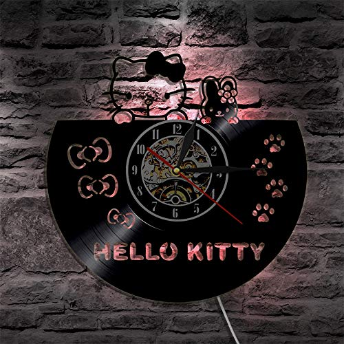 N/Z - Reloj de pared para niños y niñas, diseño de gato helloKitty