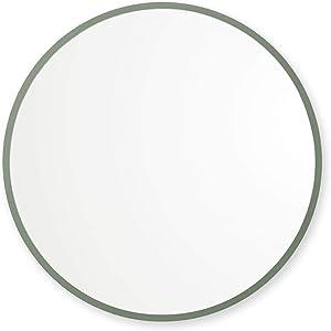 "Better Bevel 30"" x 30"" Sage Green Rubber Framed Mirror | Round Bathroom Wall Mirror"