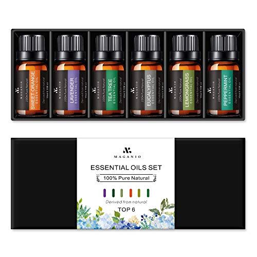 MAGANIO Essential Oils Set Top 6 [Long-Lasting Aroma] 100% Pure Natural, Therapeutic Grade 10ML Undiluted Essential Oil Gift Kit for Diffuser, Aromatherapy & Massage - Primary Collection