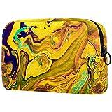 Amarillo azul abstracto arte Oxford bolsa de maquillaje bolso monedero monedero organizador multifuncional hecho a mano bolsa de tela para las mujeres