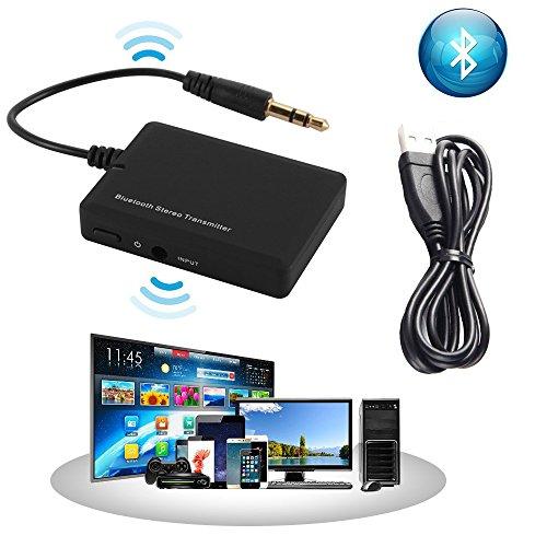 Bluetooth Stereo Audio Sender Tragbar Drahtloser Bluetooth Transmitter mit 3,5mm Klinke und eingebauter unterstützt AD2P für die Heim Stereo HiFi TV,CD- und DVD-PlayerTablet Kopfhörer Lautsprecher