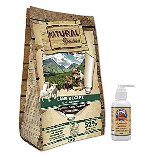 NATURAL GREATNESS - Pienso Natural de Cordero Sin Cereales para digestiones sensibles Saco 2 Kg + Aceite Salmón Grizzly 125 ml | ANIMALUJOS