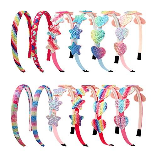 Paquete de 12 diademas para niñas, diademas de arcoíris, diademas de corazón con purpurina para niñas, diademas de estrellas y arcoíris para niñas