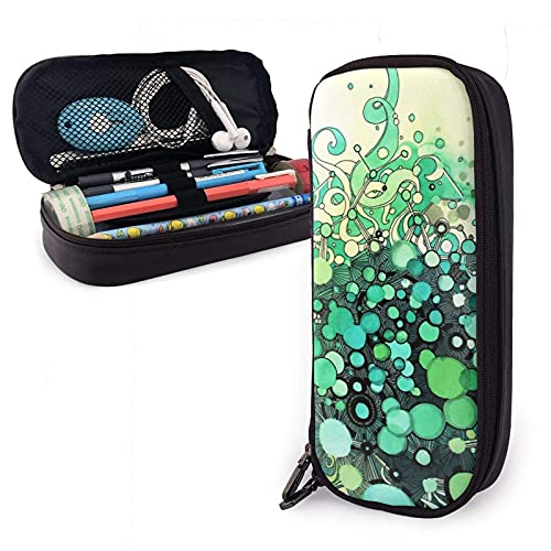 XCNGG Estuche para lápices neceser Visible Connections Watercolor And Pen Art Variety Face Towel Leather Pencil Case Pouch Zippered Pen Box School Supply For Students Big Capacity Stationery Box Trave