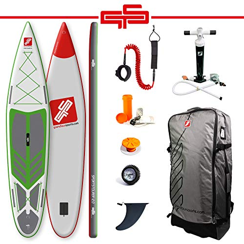 grandtoursports*com Stand Up Paddle Board, 75x366x15cm 315l bis 95kg, aufblasbares SUP Stand Up Paddling Board GTS SPORTSTOURER 12.0 GWG inkl. Zubehör Set