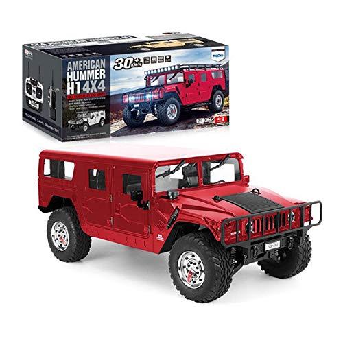 XIAOKEKE Ferngesteuertes Auto, 1/10 American Hummer in Originalgröße, 4WD 30 Km/H 4X4 2,4 Ghz RC-Modellauto Mit LED-Licht Und Sound, Jungen Und Mädchen,Rot
