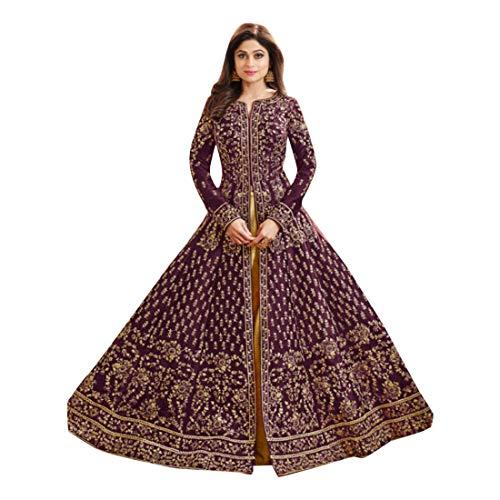 Eid Purple Skirt Silk HEavy embroidery Mujeres musulmanas Abaya Hijab Kaftan Bollywood Shalwar Viste a Pakistani Party Wear Señoras de la boda Anarkali Long Salwar Kameez Kamiz Dress Mesh Punjabi 7124