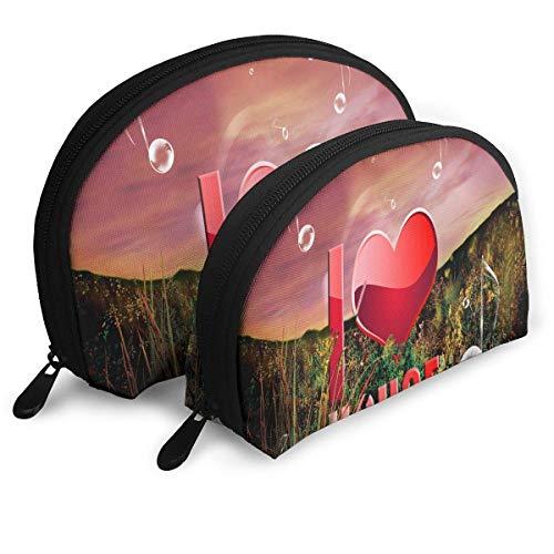 Trousse de Maquillage Télécharger I Love Music Portable Shell Organisateur de Toilette pour Les Femmes Pack Cadeau de Noël - 2