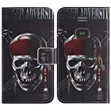 TienJueShi Skull Fashion Style Book Stand Flip PU Leather