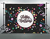 HD誕生日のしわ抵抗の背景カラフルな星リボングレー-黒のテクスチャ写真の背景7x5ftテーブル装飾LHFS120