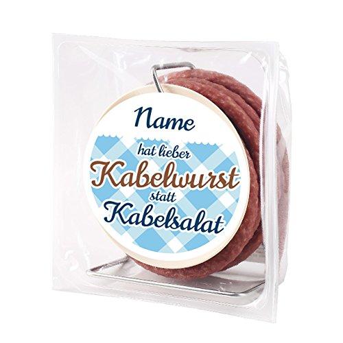 Herz & Heim® 3,5 Meter Salami Snack auf Kabeltrommel - mit Namen auf dem Etikett - ideales Geschenk für Handwerker und Heimwerker