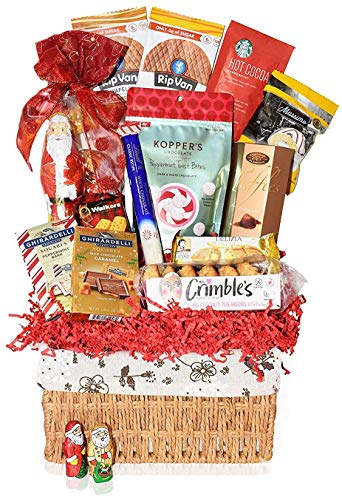 Christmas Premium Gift Baskets - Macaroons, Chocolate, Santa, Holiday - Gifts Baskets for Family, Friends, Colleagues, Office, Men, Women, Corporate, Him, Dad, Mom and Her