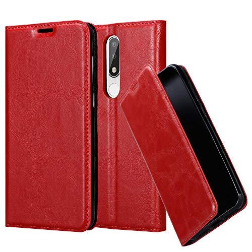 Cadorabo Hülle für Nokia 5.1 Plus in Apfel ROT - Handyhülle mit Magnetverschluss, Standfunktion & Kartenfach - Hülle Cover Schutzhülle Etui Tasche Book Klapp Style
