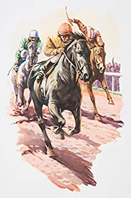 Three Jockeys Fighting to Come in First Art Print Poster 12x18