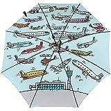 Paraguas de Viaje a Prueba de Viento Impreso Aeroplano de Dibujos Animados - Toldo Reforzado a Prueba de Viento