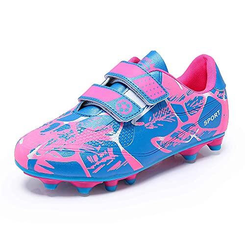 Fussballschuhe Kinder 28 Klettverschluss Mädchen Fußballschuhe FG/AG Low Top Fussball Schuhe Outdoor Football Shoes Trainingsschuhe für Unisex-Kinder Pink
