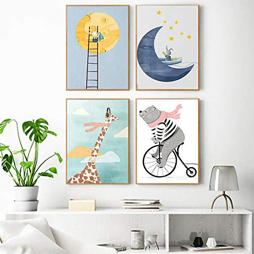 WKAQM Jirafa Luna Montar a Caballo Oso Lienzo Pared Arte Pintura Minimalista Poster Impresiones Musulmán Vivero Pared Arte Cuadros Niños Dormitorio Inicio Pared Arte Decoracion Sin Marco