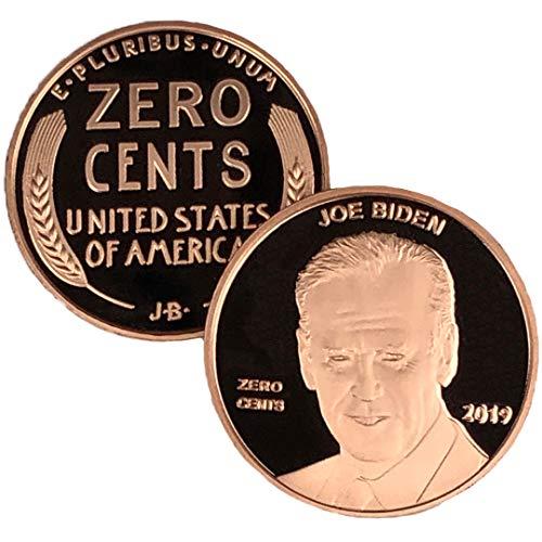 Aizics Mint Joe Biden | Zero Cents Democrat Penny | Democrat Novelty Coin Token | Copper Plated Large Size 30mm x 2mm | MAGA | Presidential Candidate 2020 | Nonsense = no Cents!