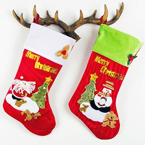 Surwin Calcetín De Navidad Bolsa De Regalo Medias Navidad Decoración, Colgante de árbol de Navidad Decoraciones para el hogar Adorno de Navidad Bolsa de Dulces (E,2)