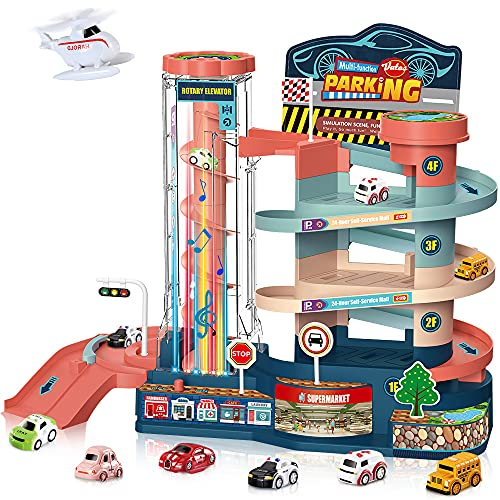VATOS Garage Track Set Toy for Kids - Electric & Manual Toddler Car Track Toy Playset with 6 Cars & 1 Helicopter | Parking lot Toy with Light Sound & 3-Level Race Track for 3 4 5 6 Year Old Boy Girl
