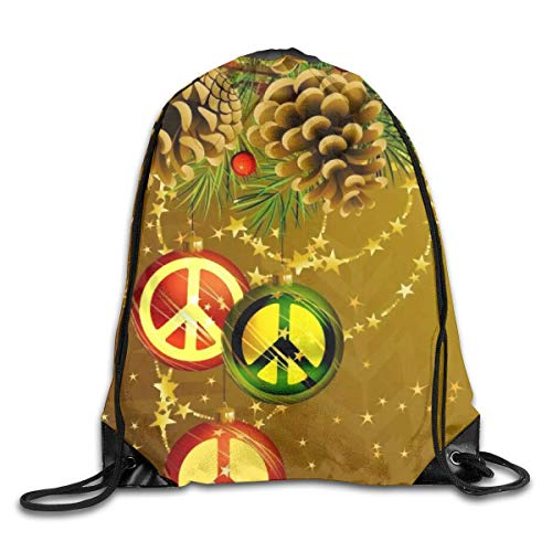 Drempad Tunnelzug Rucksäcke, Peace Marks Merry Christmas Patterned Themed Printed Drawstring Bundle Book School Shopping Travel Back Bags Draw String Gym Backpack Bulk Girl Boy Women Men