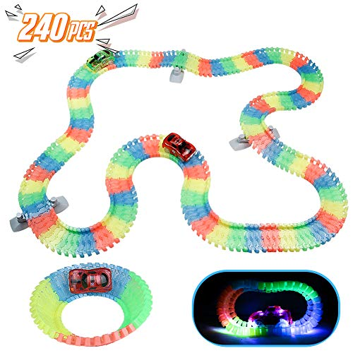 Akokie Autorennbahn Magic Tracks LED Rennwagen mit Gestell 240 PCS Bahn Biegbar Leuchtende Autorennbahn Geschenke ab 3 4 5 Jährige Jungen Mädchen Kinder