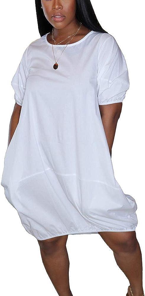 Women Summer Bubble Midi Dress Lantern Sleeve Solid Color Short Dress Clubwear