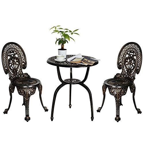 Sundale Outdoor 3-Piece Patio Bistro Furniture Set w/Antique Crown Finish, All-Weather Cast Aluminum Table & Chair Set, Bronze