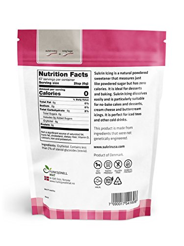 Sukrin Icing All Natural Zero GI Zero Kcal Stevia Sweetener Icing Sugar Alternative 400 g - 1 Pack