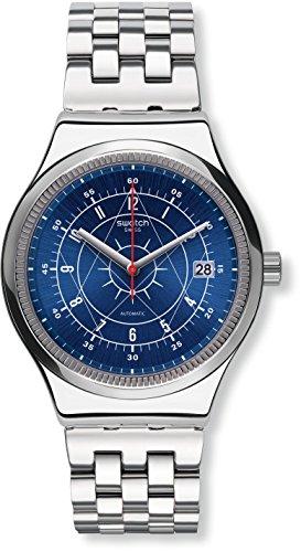 Swatch Relógio analógico masculino automático com pulseira de aço inoxidável YIS401G