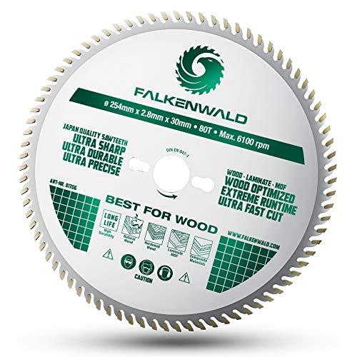 Falkenwald ® Sägeblatt 254x30 für Holz - Feiner Schnitt durch 80 HM Zähne - Kompatibel mit Bosch GTS 10 XC, PTS 10 Tischkreissäge & Metabo Kappsäge KGS 254 M - [DIN EN 847-1] Kreissägeblatt 254 x 30