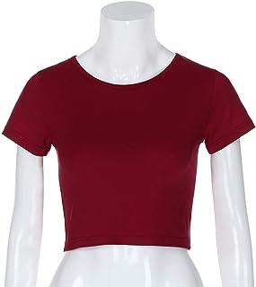 تي شيرت Round Neck Exposed Navel Shirt Body Short Sleeve T-shirt, Size: XL(Green) تي شيرت (Color : Wine Red, Size : L)