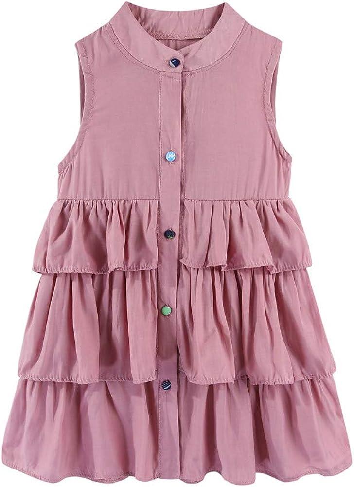 Mud Kingdom Button Down Little Girls Midi Dress Ruffle Tiered