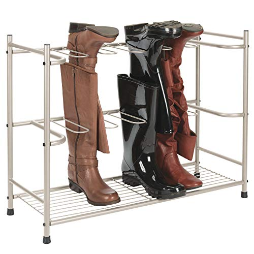 mDesign Boot Storage and Organizer Rack, Space-Saving Holder for Rain Boots, Riding Boots, Dress Boots - Holds 6 Pairs - Sleek, Modern Design, Sturdy Steel Construction - Satin