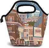 Casco Vello Vigo - Póster de viaje retro aislado para almuerzo, caja de pícnic, refrigerador portátil, bolsa de almuerzo para mujeres, niñas, hombres y niños