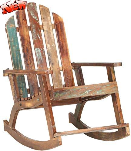 DANGRUUT Aktualisierte Version Recyceltes Massivholz Garten Schaukelstuhl, Best Gartenstuhl Schwingsessel Schwingstuhl Schaukelsessel Relaxstuhl Holzstuhl Gartenmöbel Für Erwachsene