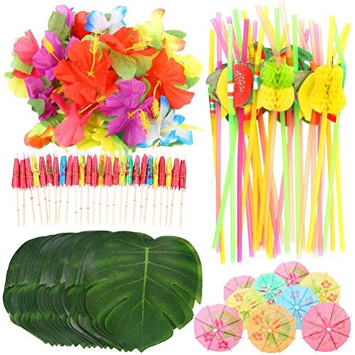 KAHEIGN 108Pcs Tropical Luau Party Decoration, 24Pcs Palm Leaves 24Pcs Flowers 30Pcs Multicolored Umbrellas and 30Pcs 3D Fruit Straws for Hawaiian Luau Party Jungle Beach Theme