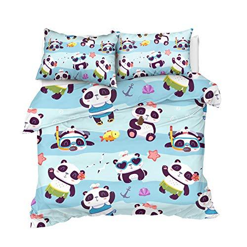 STBDWOSW Funda Nórdica Juego De Ropa De Cama Niños 3 Piezas Panda Animal De Dibujos Animados 220X240 Cm Poliéster Funda De Edredón Funda De Almohada Poliéster Microfibra - Cómodo Suave Fácil De LIM