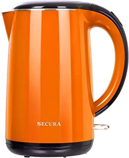 Secura The Original Stainless Steel Double Wall Electric Water Kettle 1.8 Quart (Orange)