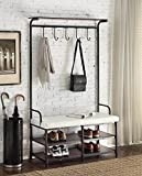 Black Metal and White Bonded Leather Entryway Shoe Bench with Coat Rack Hall Tree Storage Organizer 5 Hooks - 40.5' Wide Bench