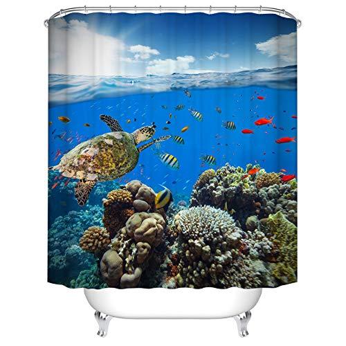 YPXXPY Duschvorhänge, Duschvorhang Wasserdichter Anti-Schimmel-Duschvorhang Jungle Tropical Operation Duschvorhang mit 12 Haken , Turtle Red Fish