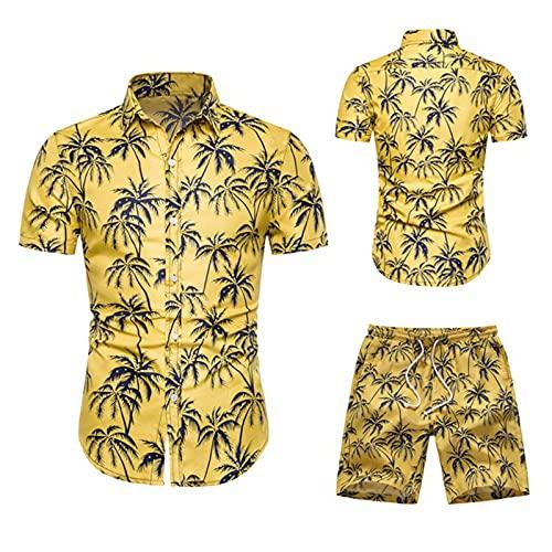 Juego de pantalones cortos de manga corta para hombre, camisa hawaiana para verano, tiempo libre, camiseta ajustada Amarillo_1. M