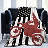 Carwayii Motocross Throw Blanket,USA America Flag Dirt Bike Flannel Lap Blanket Gifts for Adult Kids,Cozy Noon Break Blanket,No Shedding Fleece Sofa Blanket for Office Couch Car - 40''x50''